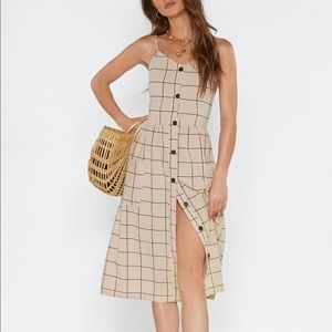 NWT Nasty Gal Button Up Midi Grid Check Dress